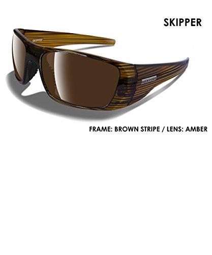 Shiny Brown Stripe (NEWPORT POLARIZED Sunglasses SKIPPER Shiny Brown Stripe / Polarized Amber Lens)