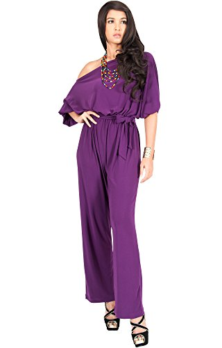 KOH KOH Petite Womens One Shoulder Short Sleeve Versatile Jumpsuit Playsuit Romper Keyhole Belted pants suits Elegant Cocktail Party Overall, Color Purple, Size Extra Small XS 2-4