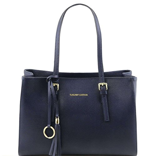 Tuscany Leather - TL Bag -Sac à main en cuir Saffiano - Blue foncé
