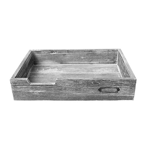 (Barnwood Dark Gray Drawer-Style Stackable Wood Document & Literature Tray, Office Supplies Bin )