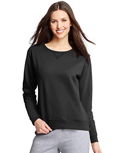 Hanes Black Crew Sweatshirt - Hanes ComfortSoft EcoSmart Women's Crewneck Sweatshirt_Ebony_S