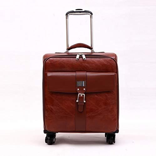 SfHx 搭乗PU PUトロリーケースユニバーサルホイールロックボックスビジネススーツケース男性と女性の模造革スーツケース (Color : ブラウン, Size : 16) 16 ブラウン B07PT4ZD4M