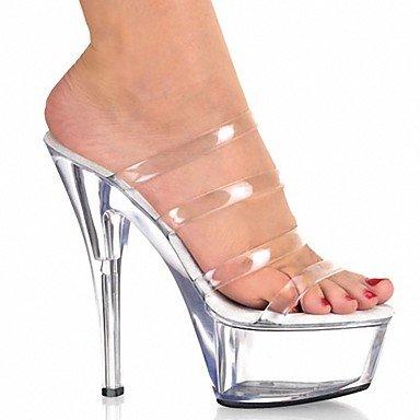 RTRY Zapatillas De Mujer &Amp; Flip-Flops Zapatillas Pvc Summer Party &Amp; Noche Crystal Stiletto Talón Ruby Negro Blanco 5En &Amp; Más Claro Us6 / Ue36 / Uk4 / Cn36 US5 / EU35 / UK3 / CN34