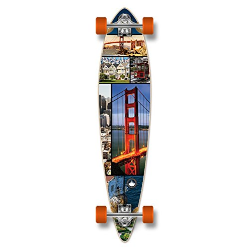 Yocaher Special Graphic Complete Longboard PINTAIL skateboard w/ 7mm wheels - San Francisco
