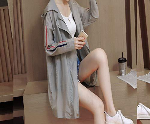 Primaverile Con Mode Sciolto Manica Bolawoo Casuali Grau Cappuccio Plus Outwear Giacca Eleganti Mantello Coat Lunga Donna Marca Prodotto Autunno Fashion Di Windbreaker xXq5gTqw