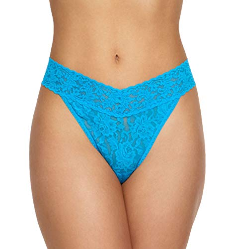Hanky Panky Signature Lace Original Rise Thong #4811P,One Size,Fiji Blue ()