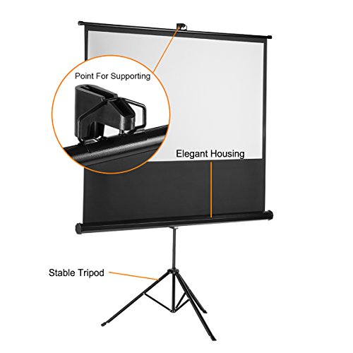 Projector Screen with Foldable Stand Tripod, Excelvan Portable Video HD Diagonal 16:9 Indoor Outdoor Screen Adjustable Wrinkle-Free Design for Home Cinema Movie Projection(100 inch) by Excelvan (Image #5)