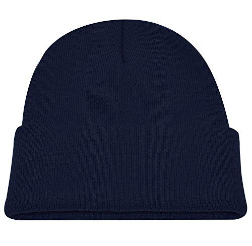 Knit Hats Skully Winter Hat Wool Beanie Knit Caps Navy (Blue Knit Beanie Cap Hat)