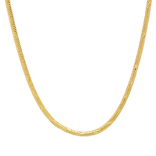 Small 14k Yellow Gold Plated 2mm Diamond-Cut Rounded Snake Link Chain, (Shiny Snake Chain)