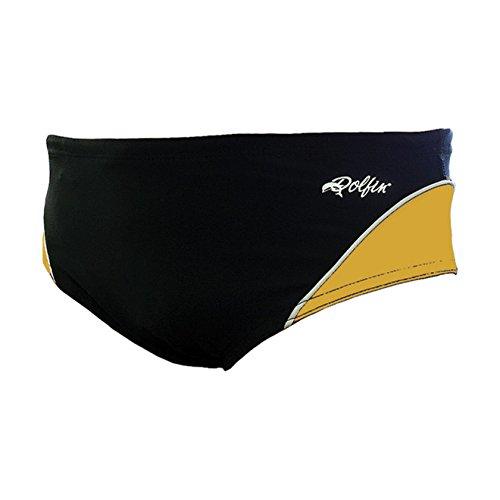 (Dolfin Swimwear Team Panel Racer - Black/Gold/White, 40)