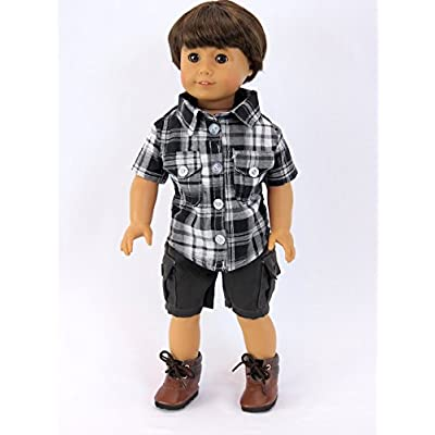 American Fashion World Grey and Black Boy Outfit: Toys & Games