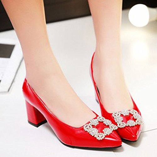 Aisun Womens Rhinestone Dressy Low Cut Closed Pointed Toe Elegant Block Medium Heels Slip On Pumps Wear To Work Office Shoes Red Ira2CX9J
