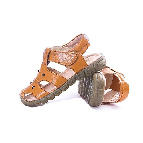 Eagsouni Unisex-Kinder Geschlossene Sandalen aus weichem Leder Outdoor Trekkingsandalen Lauflernschuhe Klettverschluss Gelb