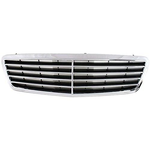 Grille for Mercedes Benz C-Class 01-07 Chrome Shell/Painted-Black Insert Avantgarde and Elegance Pkg. Sedan/Wagon