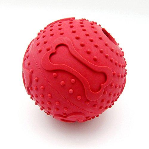 SymbolLife Futterball Interactive IQ Hundespielzeug Dog Treat Dispenser & Zahn Chewing Snackball Gummi Multifunktional Ball Kauspielzeug für Hund, Groesse-M Rot