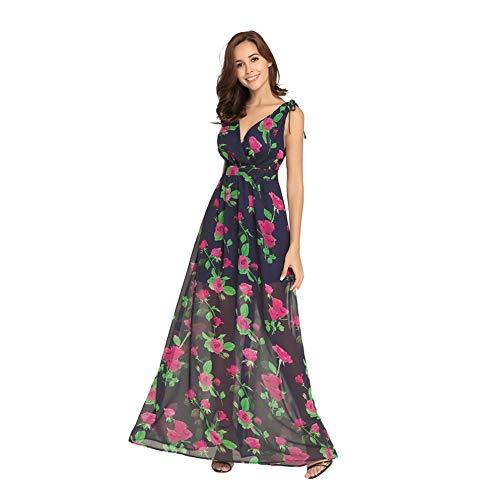 Ärmelloses XXL Chiffon Boho Ausschnitt V Multicolorfloralblack4 Kleid Floral Frauen Tiefem Wrap Backless Langes BaqIR