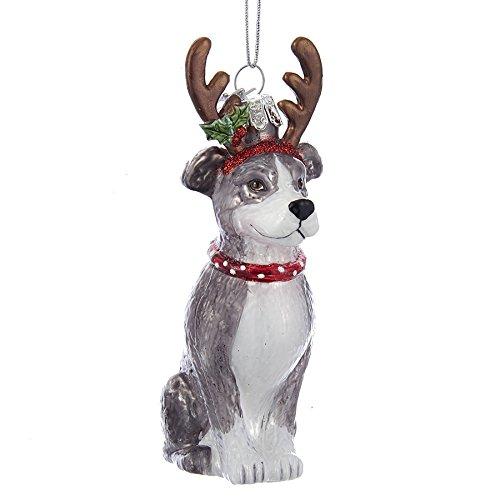 (Kurt Adler Noble Gems Glass Pitbull w/ Antlers Ornament)