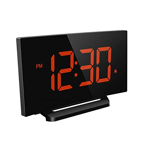 Mpow Aries Digital Alarm Clock, Curved-Screen Clock with 5'' LED Display and Dimmer, 3 Adjustable Alarm Sounds, Bedside Alarm Clocks with Snooze for Bedroom, Kitchen, Office, Orange