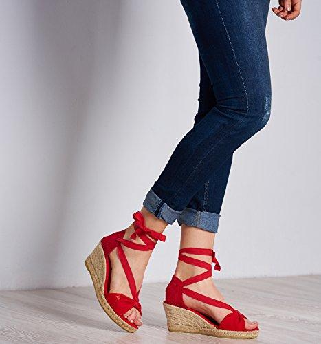 VISCATA Tossa Alpargata de Cuña para Mujer de 6,5 cm Tacón, Diseño Elegante Calidad Made in Spain Red