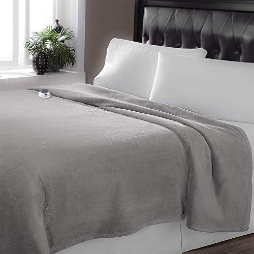 SoftHeat Luxe Plush Electric Heated Warming Throw Blanket Gray