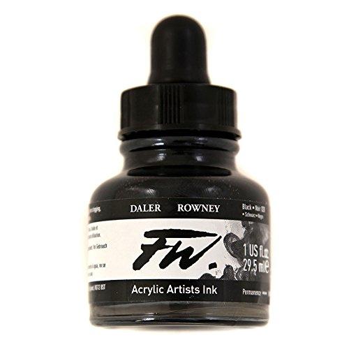 Daler-Rowney F.W. Acrylic Ink 1 oz Bottle - Black - Artists Ink