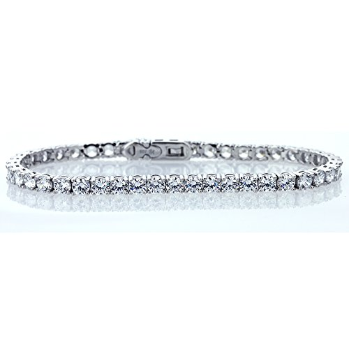 Double Accent Sterling Silver Rhodium Plated 4mm Round Cut Cubic Zirconia Womens Tennis Bracelet