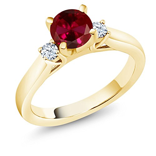Gem Stone King 1.10 Ct Red Created Ruby White Created Sapphire 18K Yellow Gold Plated Silver Ring (Size 9)