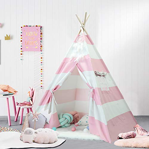UKadou Kids Teepee Tent for Girls Kids Tents Indoor Play | Teepee Tent for Girls | Toddlers Indian Canvas Teepee Indoor Outdoor Playhouse, Pink Stripe Teepee