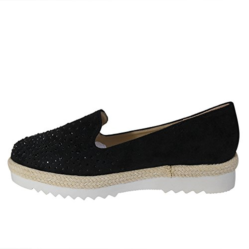 ... Glitzer Ballerinas Schuhtraum Damen Schwarz Nieten ST551 Sneakers  Slipper Plateau wqUXUWIRT ... 3dd49ed635