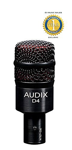 Audix D4 Dynamic Instrument Microphone with 1 Year Free Extended Warranty by Audix