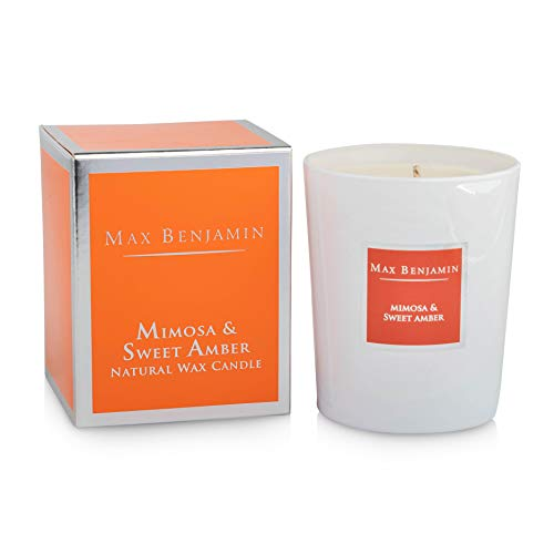 Max Benjamin Mimosa and Sweet Amber Scented Glass Candle in Gift Box