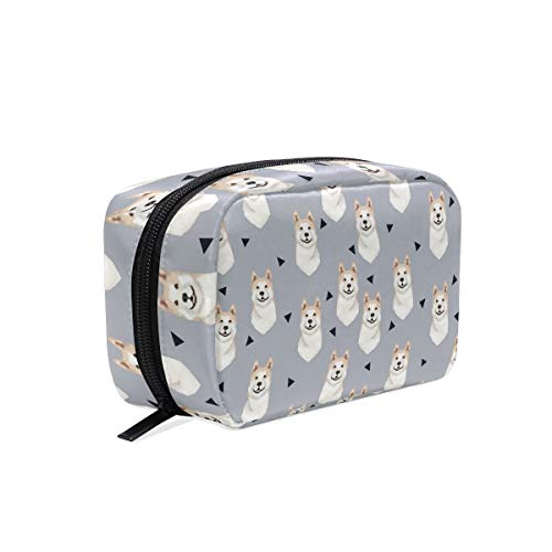 - Akita Dog Gray Cosmetic Bags Organizer- Travel Makeup Pouch Ladies Toiletry Case for Women Girls, CoTime Black Zipper