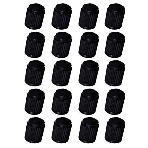 (HsgbvictS Plastic Valve Stem Cap External Modified Dust Cover 20/50/100Pcs Car Truck Auto Wheels Tire Plastic Valve Stem Caps Dust Covers - Black 20pcs)