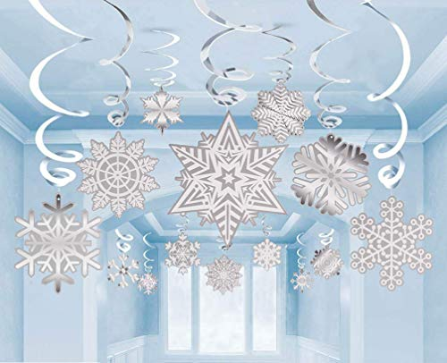 60 Pack Winter Wonderland Snowflake Hanging Swirls Value Bundle Decorations for Frozen Themed Parties Supplies, White Silver