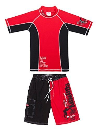 SunWay UPF 50+ Boys Rash Guard Short and Shorts swimsuit set UV Sun Protective (7-8 years)