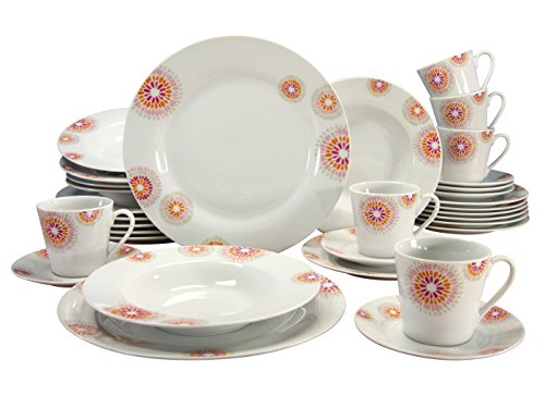 CREATABLE 19496, Series Novo MARA, Dinner Set 30-Pieces, Porcelain, Multicoloured