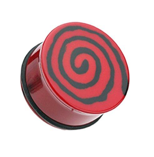 Flared Single (Freedom Fashion Hypnotic Swirls Acrylic Single Flared Ear Gauge Plug (Sold by Pair) (00 GA, Red))