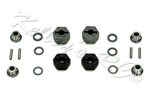 Traxxas 12mm Hex Wheel Hubs - Stub Axle Pins - 4mm Flanged Nuts - Teflon Washer Set