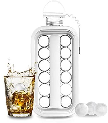Ice Cube Molds,Ice Cube Trays, 2 in 1 Portable Ice Ball Maker Kettle,Easy to Make 17 Grids Flat Body Ice Ball for Home,Party,Beer,Whiskey,Juice,Champagne
