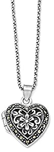925 Sterling Silver Marcasite Heart Locket Chain Necklace Pendant Charm W/chain S/love Fine Jewelry Gifts For Women For Her