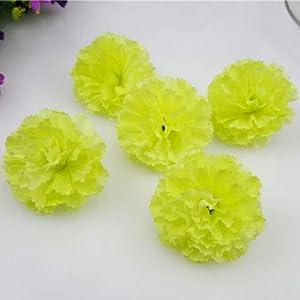 FidgetFidget Artificial Silk Flowers Carnation Heads Party Wedding Home Garden Decor 50X 100X Light Green 100pcs 103