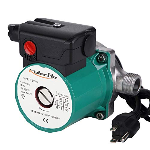 KOLERFLO 3/4 Hot Water Circulation Pump Stainless Steel Recirculating Water Pump for Portable Water System(RS15-6 SS Green)