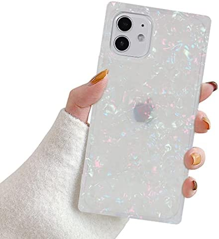 Manleno Compatible with iPhone 11 Case 6.1 Inch Marble Design Square Case for Women Girls Glitter Bling Cute Soft TPU Silicone Cover Slim Protective Phone Case (Iridescent)