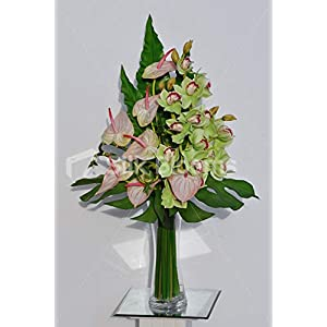 Silk Blooms Ltd Artificial Green Cymbidium Orchid and Pink Anthurium Arrangement w/Monstera Leaves 10