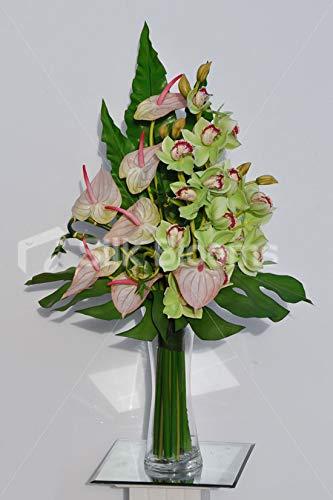 Silk-Blooms-Ltd-Artificial-Green-Cymbidium-Orchid-and-Pink-Anthurium-Arrangement-wMonstera-Leaves