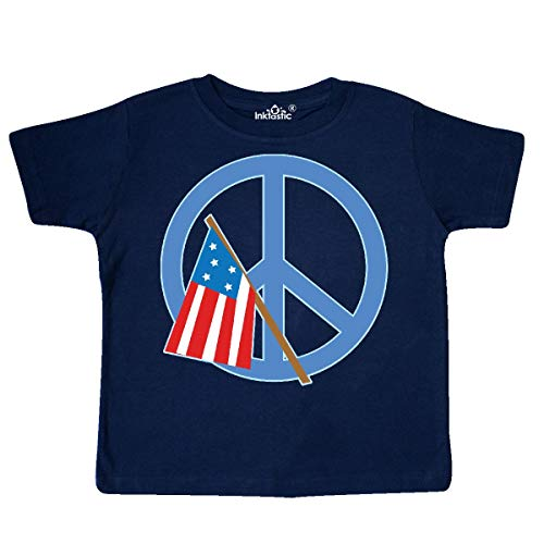 inktastic - USA Flag and Peace Sign Toddler T-Shirt 2T Navy Blue -