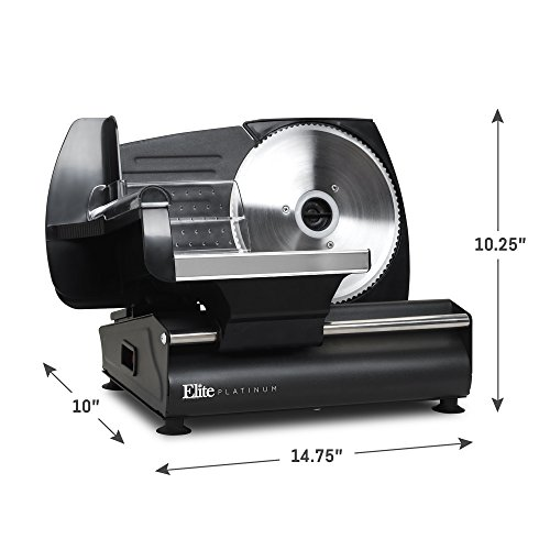 Elite Platinum EMT-625B Ultimate Precision Electric Deli Food Meat Slicer Removable Stainless Steel Blade, Adjustable Thickness, Ideal for Cold Cuts, Hard Cheese, Vegetables & Bread, 7.5'', Black by Elite Platinum (Image #1)