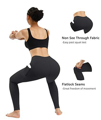 Fengbay High Waist Yoga Pants, Pocket Yoga Pants Tummy Control Workout Running 4 Way Stretch Yoga Leggings 4