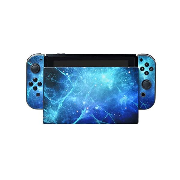 eXtremeRate Full Set Faceplate Skin Decal Stickers for Nintendo Switch/NS with 2Pcs Screen Protector (Console & Joy-con & Dock & Grip) (Blue Galaxy) 3