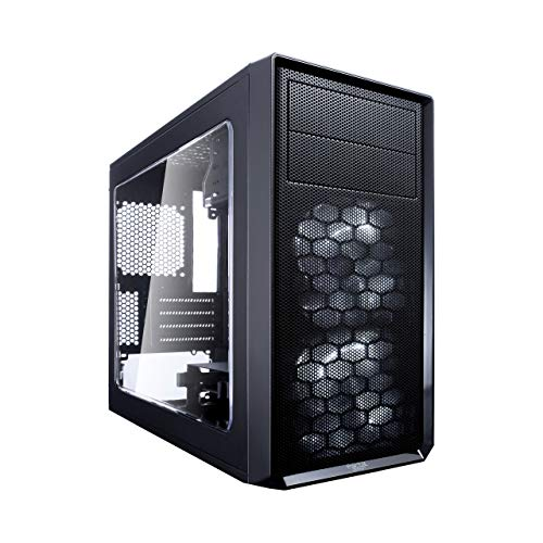 Fractal Design Focus Mini G – Mini Tower Computer Case – mATX – High Airflow – 2X Silent ll Series 120mm White LED Fans Included – USB 3.0 – Window Side Panel – Black
